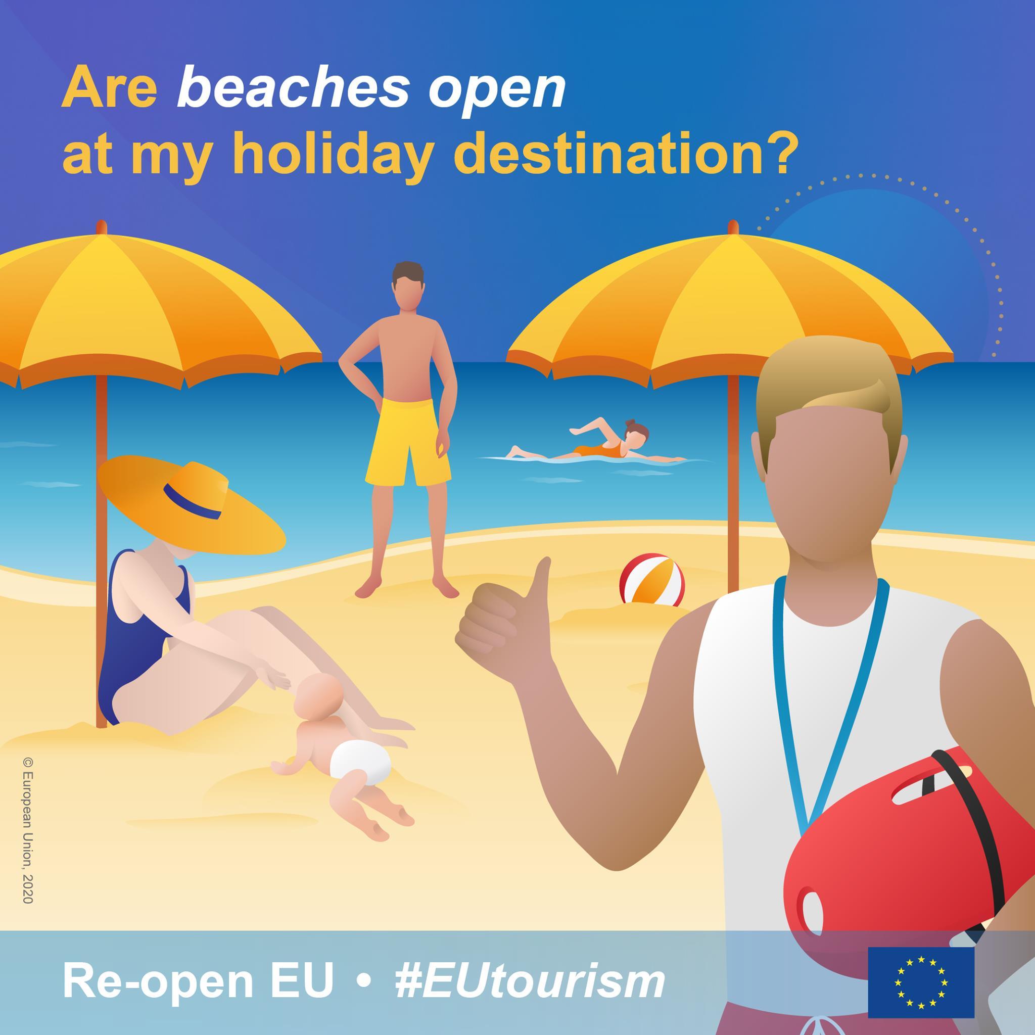 ljudi na plaži, vizual portala Re-open EU