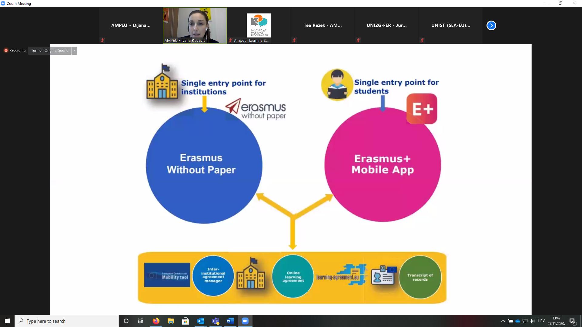 Dio prezentacije s online tematskog sastanka o digitalizaciji visokog obrazovanja